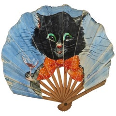 """Hand Held Early 20th Century Fan """"Cat With A Martini"""", American"""