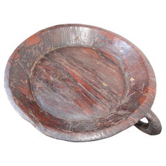 Hand Hewn African Ethiopian Large Wooden Bowl with Handle