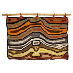 Hand Hooked Abstract Rug Wall Hanging Textile, Circa 1960s