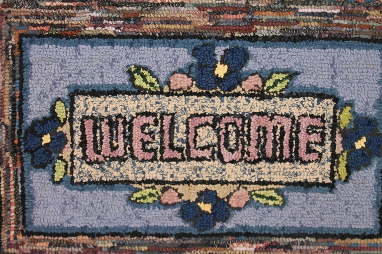 Wonderful and simple mounted hand-hooked rug from Pennsylvania. Great multi-colors from Lancaster County, PA. Very good condition.