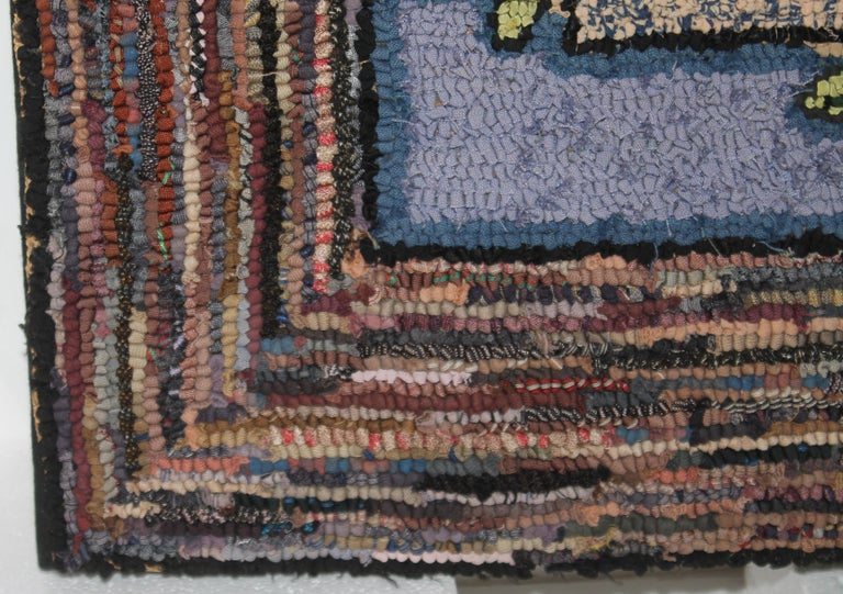 20th Century Hand-Hooked Mounted Welcome Rug from Pennsylvania For Sale