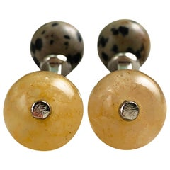 Hand Inlaid Natural Agate Dalmatian Jasper Little Ball Sterling Silver Cufflinks