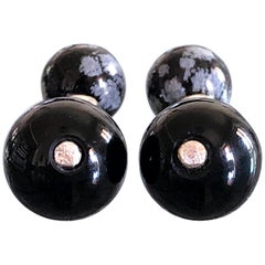 Hand Inlaid Natural Cloudy Onyx and Onyx Little Ball Sterling Silver Cufflinks