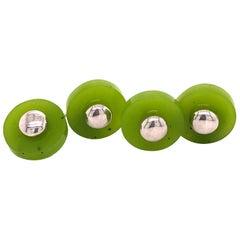 Berca Hand Inlaid Natural Round Green Jade Disk Sterling Silver Cufflinks