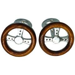 Berca Hand Inlaid Rose Wood Steering Wheel Shaped Sterling Silver Cufflinks