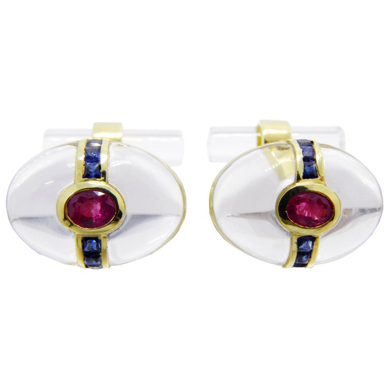 Hand Inlaid Rock Crystal Square Cut Sapphire Oval Ruby 18 Karat Gold Cufflinks For Sale