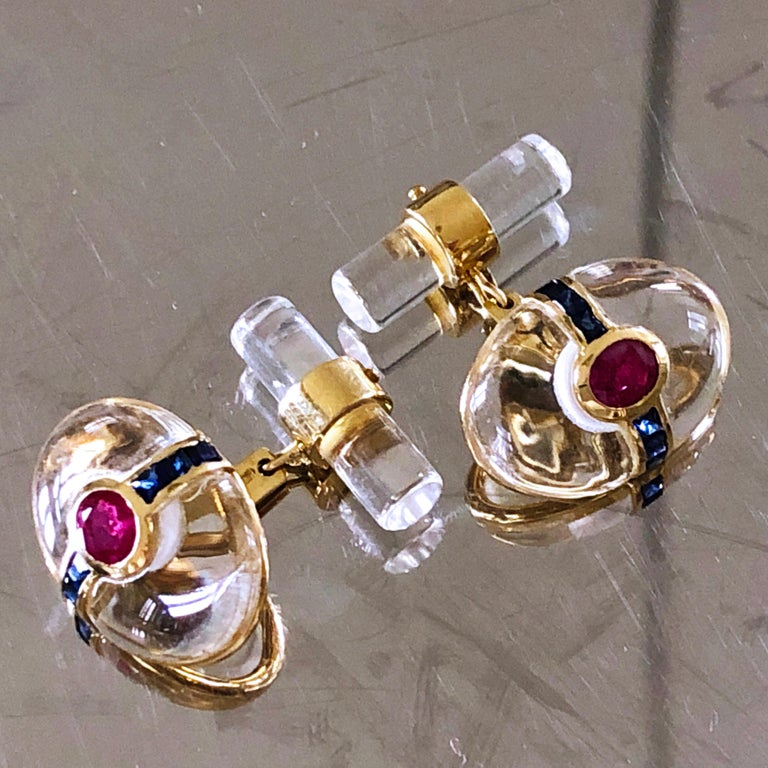 Hand Inlaid Rock Crystal Square Cut Sapphire Oval Ruby 18 Karat Gold Cufflinks For Sale 6