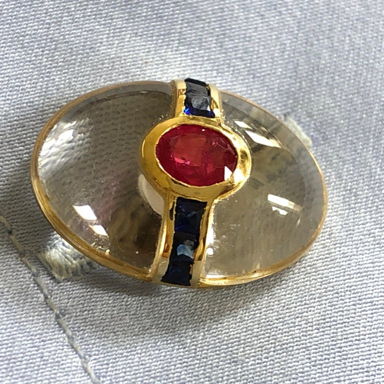 Hand Inlaid Rock Crystal Square Cut Sapphire Oval Ruby 18 Karat Gold Cufflinks For Sale 9