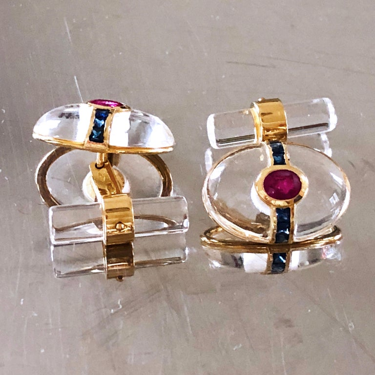 Hand Inlaid Rock Crystal Square Cut Sapphire Oval Ruby 18 Karat Gold Cufflinks For Sale 10