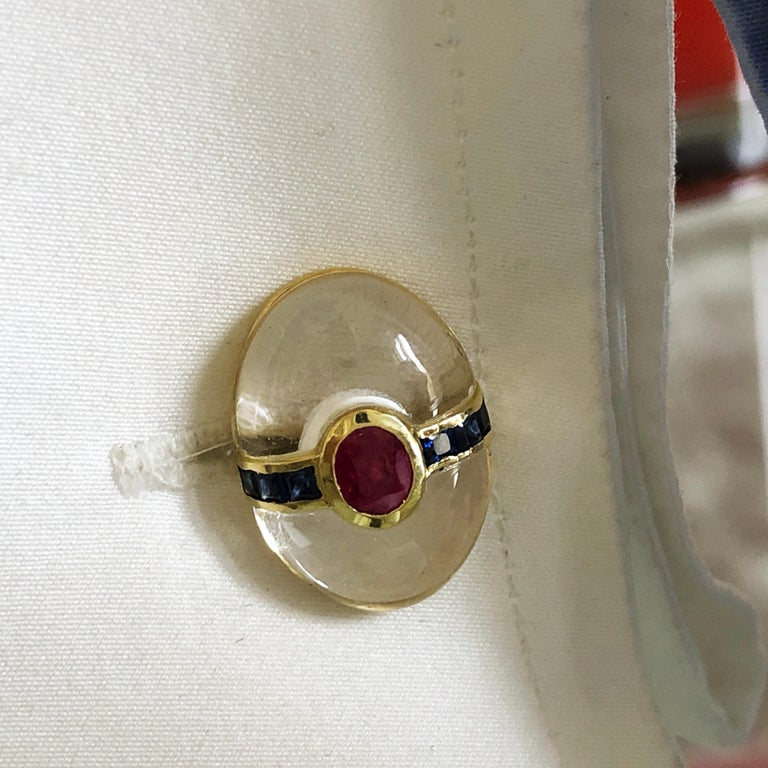 Hand Inlaid Rock Crystal Square Cut Sapphire Oval Ruby 18 Karat Gold Cufflinks For Sale 12