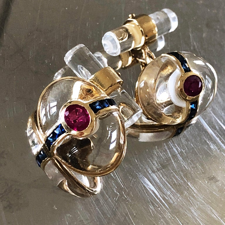 Hand Inlaid Rock Crystal Square Cut Sapphire Oval Ruby 18 Karat Gold Cufflinks In New Condition For Sale In Valenza, IT