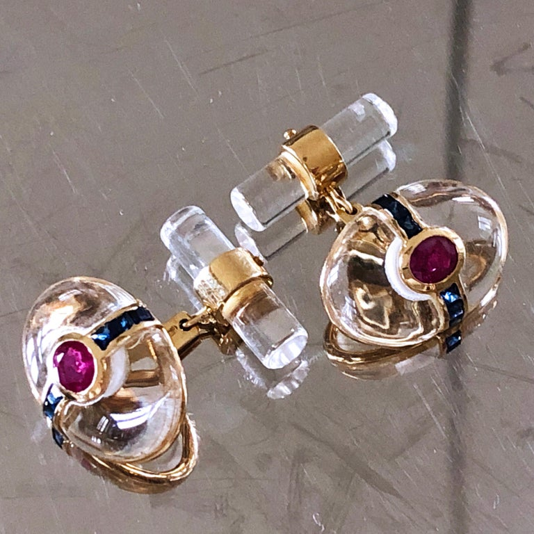 Hand Inlaid Rock Crystal Square Cut Sapphire Oval Ruby 18 Karat Gold Cufflinks For Sale 3