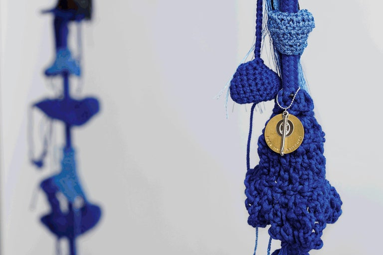 Hand Knit Crochet Cotton and Polyester Blue Swing with Matte Black Iron Seat In New Condition For Sale In Tel Aviv, IL