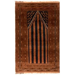 Hand Knotted 1950s Midcentury Baluch Rug Brown Persian Tribal Mihrab
