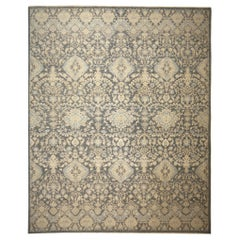 Hand Knotted 21st Century Rug Contemporary in Style of Agra Grey and Beige
