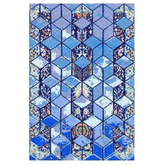 Hand Knotted 3D Modern Persian Rug Design in Blue by Gordian