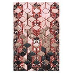 Hand Knotted 3D Modern Persian Rug Design in Red by Gordian