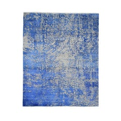 Hand Knotted Abstract Design Tone on Tone Wool and Silk Oriental Rug