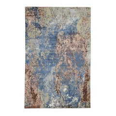 Hand Knotted Abstract Design Wool and Silk Hi and Low Pile Oriental Rug