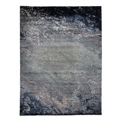 Hand Knotted Abstract Design Wool And Silk Hi And Low Pile Rug