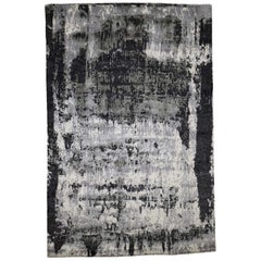 Hand Knotted Abstract Design Wool and Silk Rug