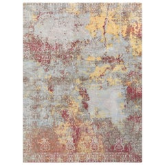 Hand Knotted Abstract Rug in Blue Multi-Color Distressed Style by Rug & Kilim