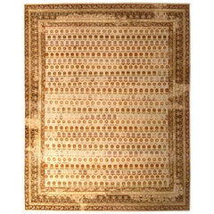 Hand Knotted Agra Style Rug Beige Brown Striped Floral Pattern by Rug & Kilim
