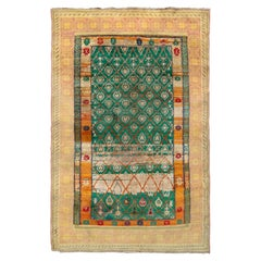 Hand Knotted Antique Agra rug in Green and Yellow Geometric Pattern