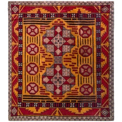Hand Knotted Antique Axminster Rug in Gold and Red Medallion Pattern