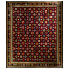 Hand-Knotted Antique Axminster Rug in Red and Blue Geometric Pattern