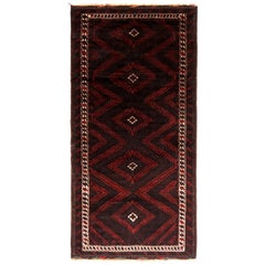 Hand Knotted Antique Baluch Rug Brown Red Baluch Tribal Pattern