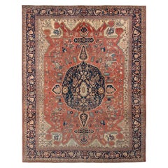 Hand Knotted Antique Farahan Rug in Red and Blue Medallion Pattern