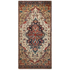 Hand-Knotted Antique Farahan Runner in Beige Brown and Red Medallion Pattern