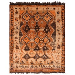 Hand Knotted Antique Gabbeh Rug Geometric Beige Orange Persian Tribal Rug