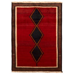 Hand Knotted Antique Gabbeh Rug Red Beige Green with Black Diamond Pattern