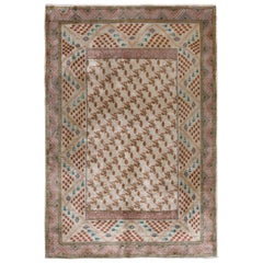Hand-Knotted Antique Hereke Rug in Beige and Pink Geometric Pattern