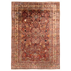 Hand-Knotted Antique Heriz Persian Style Rug in Red and Blue Floral Pattern