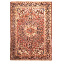 Hand Knotted Antique Heriz Rug Red Medallion Style Persian Pattern