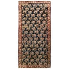 Hand-Knotted Antique Karabagh Rug, Pink and Black Floral Pattern, Red Border