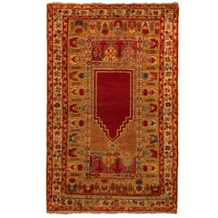 Hand Knotted Antique Karshi Persian Rug in Gold and Red Mihrab Pattern