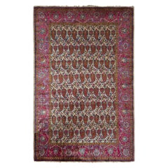 Hand-Knotted Antique Kashan Persian Rug in Red Paisley Pattern