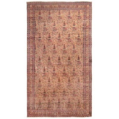 Hand Knotted Antique Kerman Lavar Rug in Beige Pink and Blue Floral Pattern