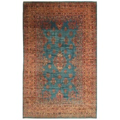 Hand Knotted Antique Kerman Lavar Rug in Blue and Pink Medallion Floral Pattern