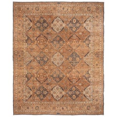 Hand Knotted Antique Kerman Rug in Beige-Brown and Blue Floral Pattern