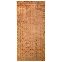 Hand Knotted Antique Khotan Rug Beige Brown with Red Pomegranate Pattern