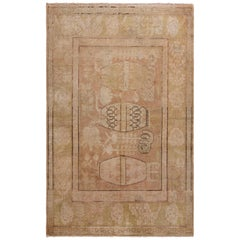 Hand-Knotted Antique Khotan Rug in Beige-Brown and Pink Pictorial Pattern