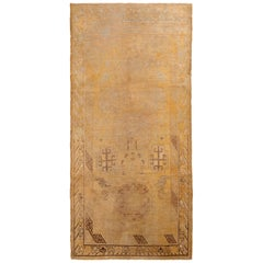 Hand-Knotted Antique Khotan Rug in Gold and Beige Brown Medallion Pattern