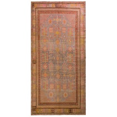 Hand-Knotted Antique Khotan Rug in Gray-Blue with Floral Patterns
