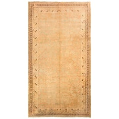 Hand-Knotted Antique Khotan Rug in Green and Beige-Brown Pomegranate Pattern