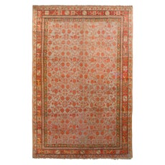 Hand-Knotted Antique Khotan Rug in Green and Orange Floral Pattern